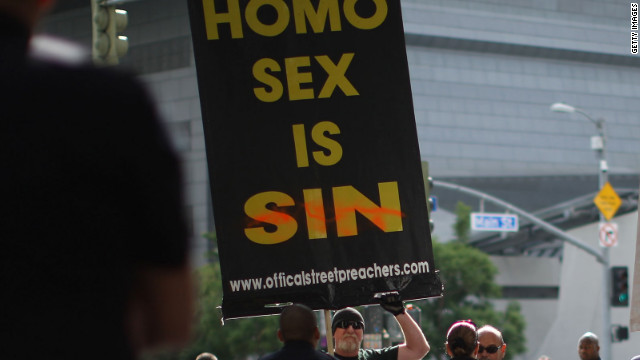 A group called Bible Believers express views at a 2011 demonstration in Los Angeles.