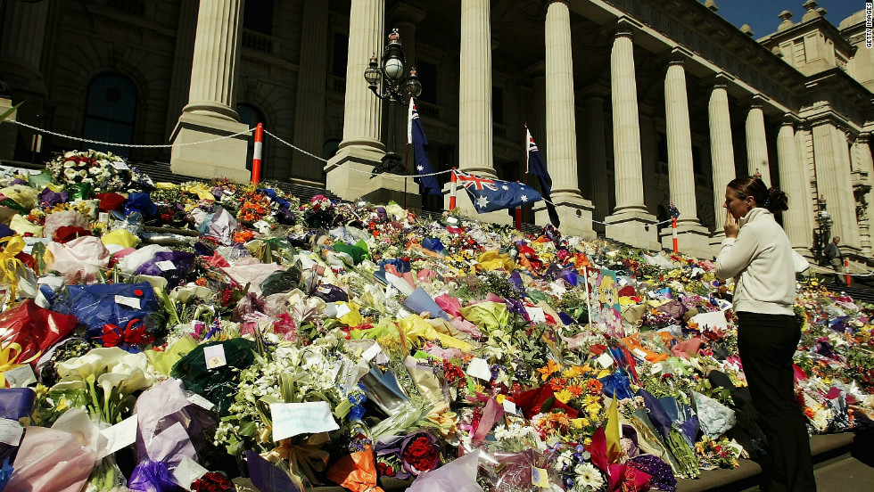 Thousands of wreaths were laid on the steps of Parliament House in Melbourne, Australia, in memory of Australians killed in the Bali bombings in 2002.