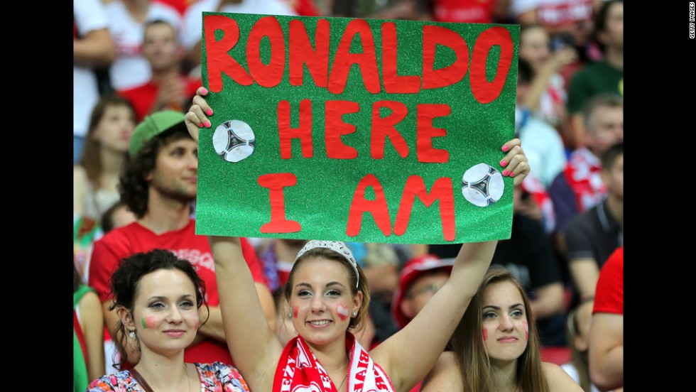 A Portugal fan holds up a sign during the quarter-final match between the Czech Republic and Portugal.