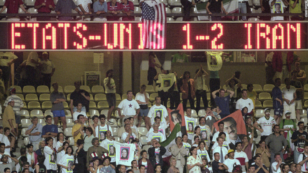 """The United States had had no diplomatic relations with Iran since the revolution in 1979. Furious political discussion ensued when they were drawn to meet at the 1998 World Cup. But the game passed off peacefully, the two teams swapping gifts and posing for a pre-match photo together. Iran won 2-1, knocking the U.S. out but defender Jeff Agoos said at the time: """"We did more (for relations) in 90 minutes than the politicians did in 20 years."""""""