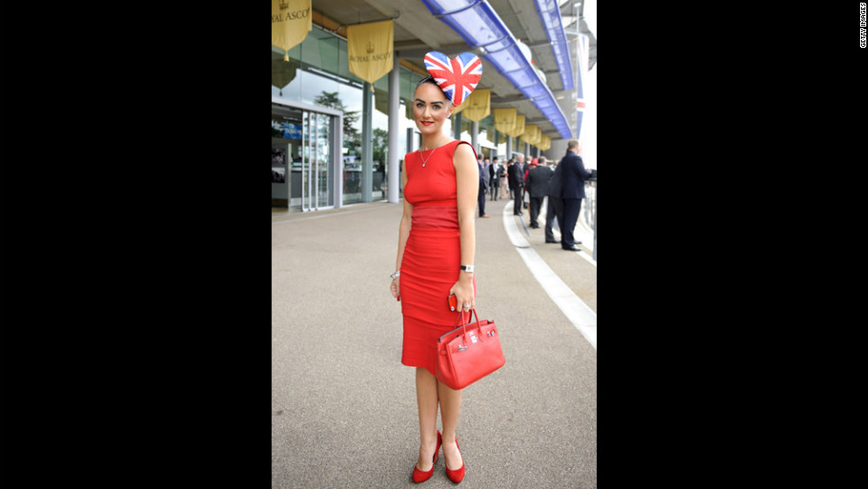 A race-goer poses on day three of the Royal Ascot.
