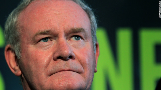 Sinn Fein's Martin McGuinness stands with party colleagues as he prepares to speak to the media during a press conference, after being officially chosen by his party to be the candidate for the upcoming Irish Presidential election, at the Writers' Centre in Dublin, on September 18, 2011. Martin McGuinness, a former commander of the IRA and Northern Ireland's deputy first minister, was officially confirmed as his Sinn Fein party's candidate for next month's Irish presidential election. AFP PHOTO/ PETER MUHLY (Photo credit should read PETER MUHLY/AFP/Getty Images)