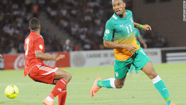 Didier Drogba vies for the ball during the Africa Zone qualifying match for the World Cup 2014,  Marrakesh, June 9, 2012.