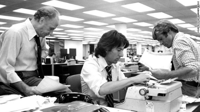 "In ""All the President's Men"" (1976), Dustin Hoffman, center, plays Carl Bernstein and Robert Redford is Bob Woodward."