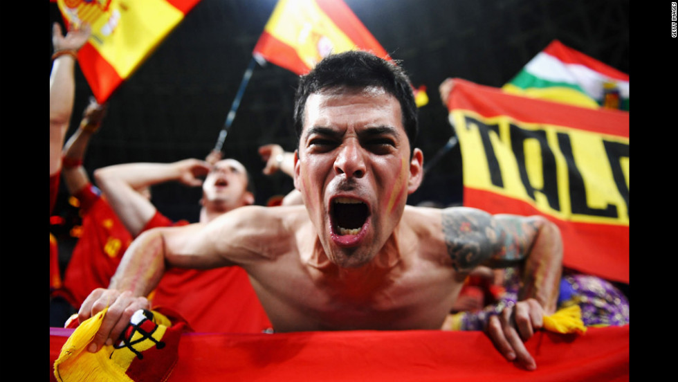 A Spanish fan enjoys the atmosphere ahead of the quarterfinal match between Spain and France.