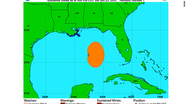 Tropical Storm Debby formed Saturday in the central Gulf of Mexico.