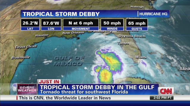 Tropical Storm Debby has formed in Gulf