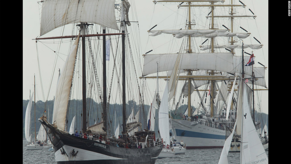 The parade features about 100 tall ships and traditional large sailing ships.