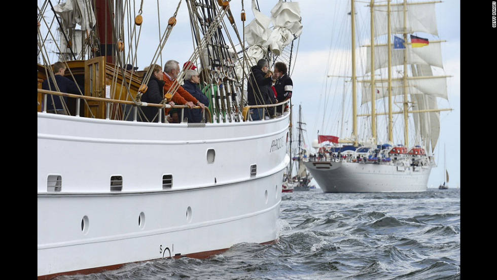 German tall ship Aphrodite, left, follows Luxembourg's Star Flyer at the Windjammer Parade.