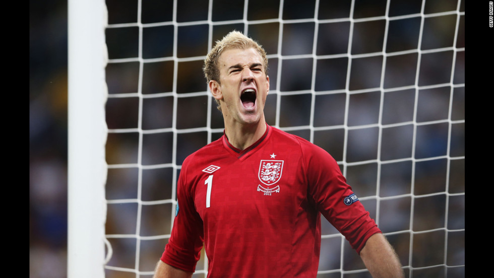 Joe Hart of England reacts during the match against Italy.