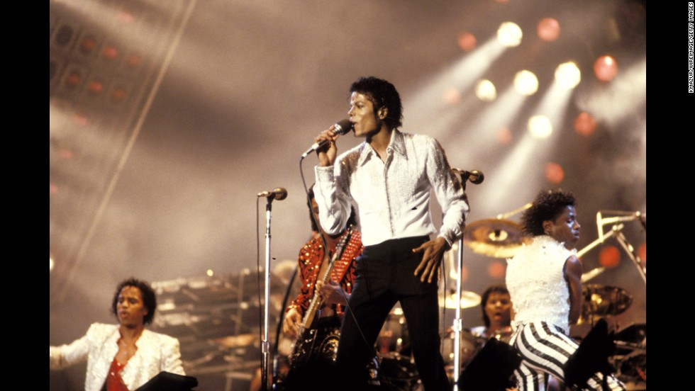 Michael Jackson performs onstage circa 1990.