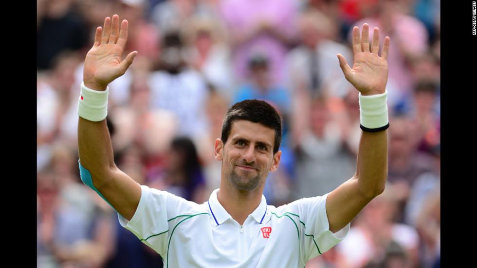 Djokovic celebrates his straight-sets victory over Ferrero June 25.