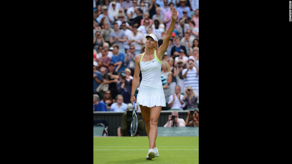 Sharapova celebrates her win over Rodionova.