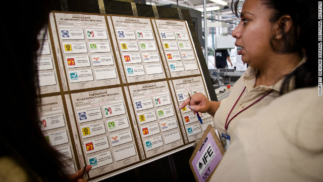 Inspectors examine freshly printed ballots for Mexico's July 1 presidential election.