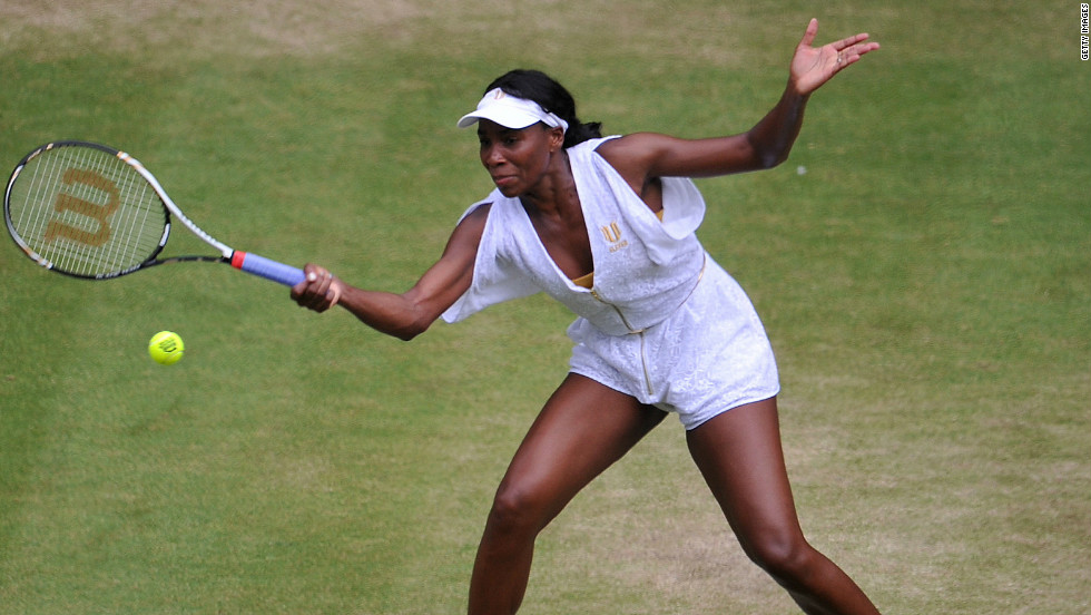 Unlike other grand slams, Wimbledon rules dictate that players must play in all white attire. But some players still put an individual slant on their clothing, including this extravagant effort from five-time champion Venus William in 2011.