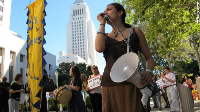 Members of the Coalition for Humane Immigrant Rights of Los Angeles hold a rally and vigil on June 25.
