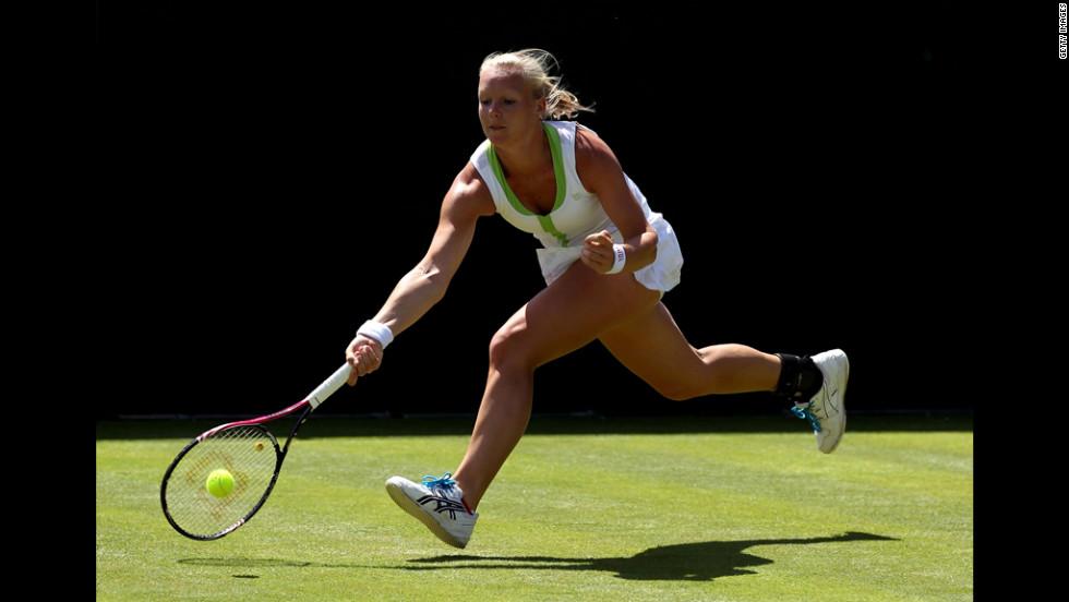 Dutch player Kiki Bertens returns during her ladies' singles first-round match against the Czech Lucie Safarova on June 26.