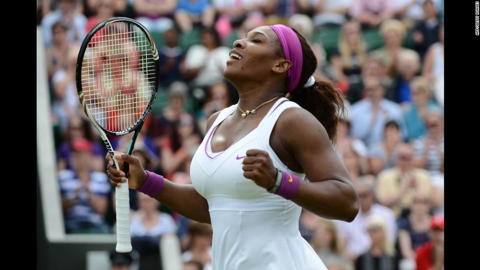 Serena Williams of the U.S. beat Barbora Zahlavova Strycova of the Czech Republic on June 26.