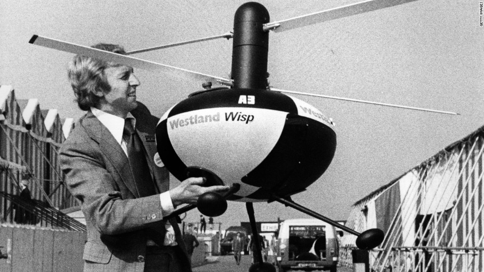 A forerunner of modern day drone aircraft, the radio-controlled Westland Wisp was displayed at the 1976 Farnborough Airshow.