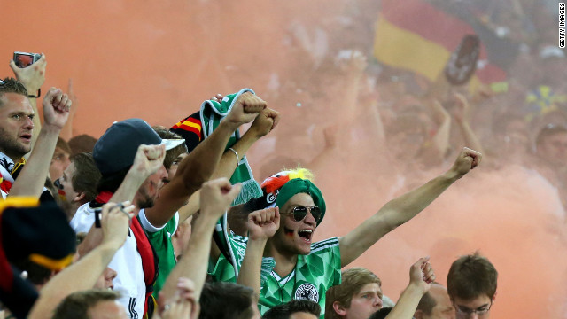 Germany fans celebrate during the Euro 2012 Group B match against Denmark in Lviv on June 17.