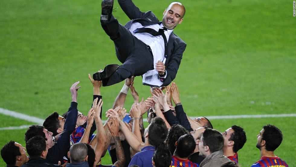 "Guardiola quit after four years at Barca saying he was ""drained"" and needed to recharge his batteries."