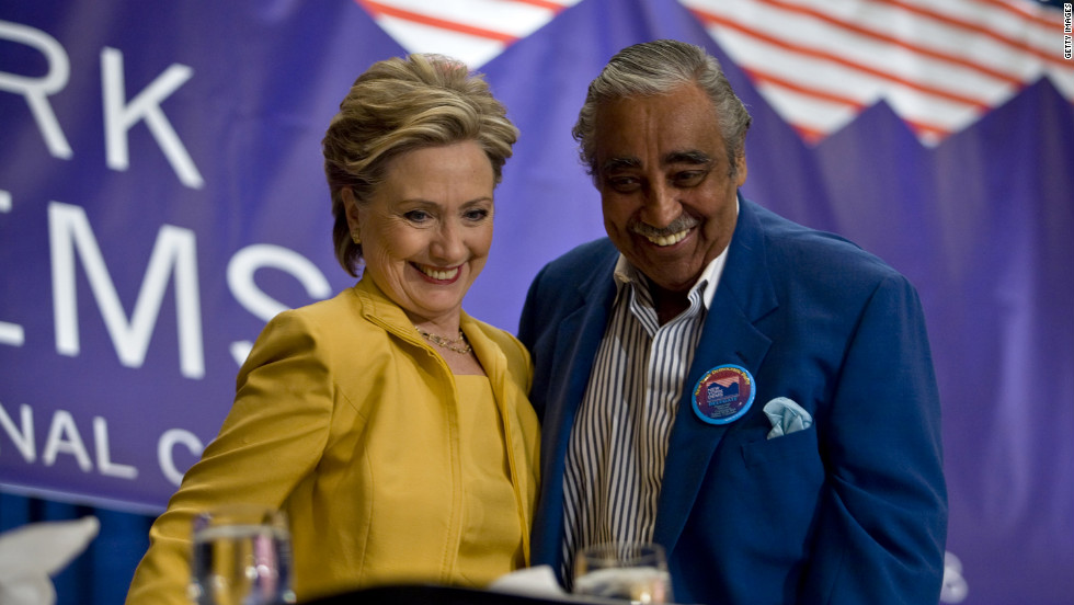 Rangel was an outspoken Hillary Clinton supporter early in the 2008 Democratic presidential race. Rangel greets then-Sen. Clinton on the first day of the Democratic National Convention at the Pepsi Center in Denver on August 25, 2008.