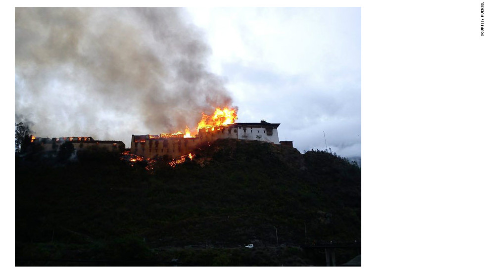 The fire consumed Wangdue Phodrang Dzong Sunday afternoon.