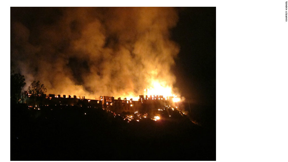The fire burned through the night at the Wangdue Phodrang Dzong, which was built by Bhutan's founder.