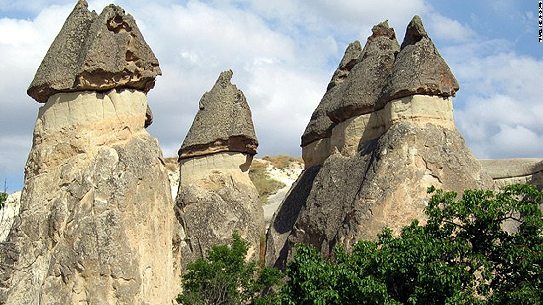 Early settlers made homes in these natural formations called fairy chimneys.