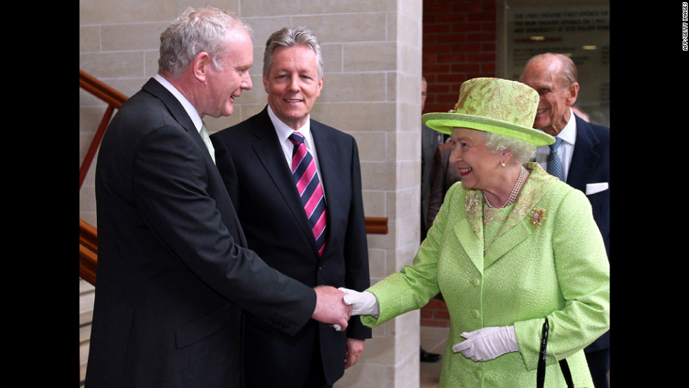 Queen Elizabeth II shakes hands with Northern Ireland Deputy First Minister Martin McGuinness, a former Irish Republican Army commander, on Wednesday, June 27. What might seem like a simple handshake marks a historic step forward in the peace process relating to British rule of Northern Ireland.