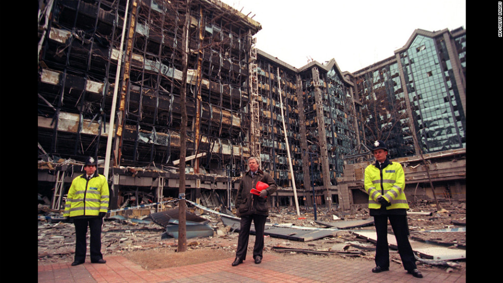 A bombing by the IRA at the Docklands in London on February 9, 1996, ended a 17-month ceasefire made in 1994.