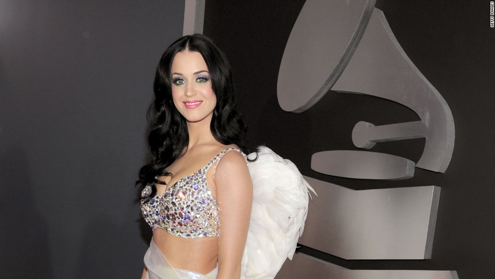 Channeling an angel in Armani, Perry accessorized her bejeweled top with a pair of wings at the 2011 Grammy Awards.
