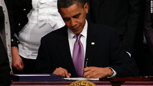 ALEXANDRIA, VA - MARCH 30:  U.S. President Barack Obama signs the Health Care and Education Reconciliation Act of 2010 during a signing ceremony at Northern Virginia Community College March 30, 2010 in Alexandria, Virginia. The legislation modifies the health care reform signed by President Obama at the White House last week, and adds additional language significantly changing the process of student loans, following passage by the House of Representatives and Senate.  (Photo by Win McNamee/Getty Images)