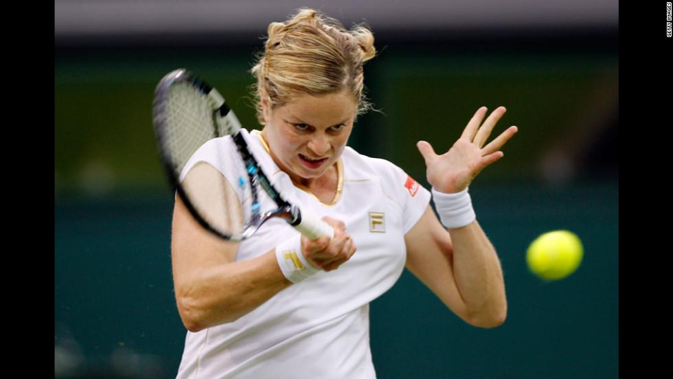Belgium's Kim Clijsters returns the ball Wednesday during her match against Czech Republic's Andrea Hlavackova.