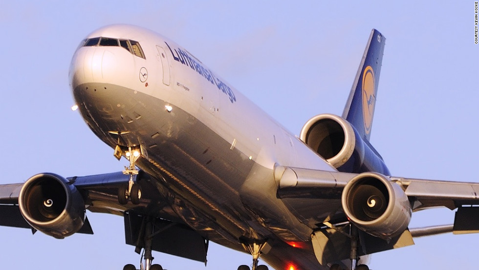 At Chicago's busy O'Hare, Koske caught this amazing image of a Lufthansa Cargo McDonnell Douglas MD-11 as it arrived at sunset from Frankfurt, Germany, on Runway 28.