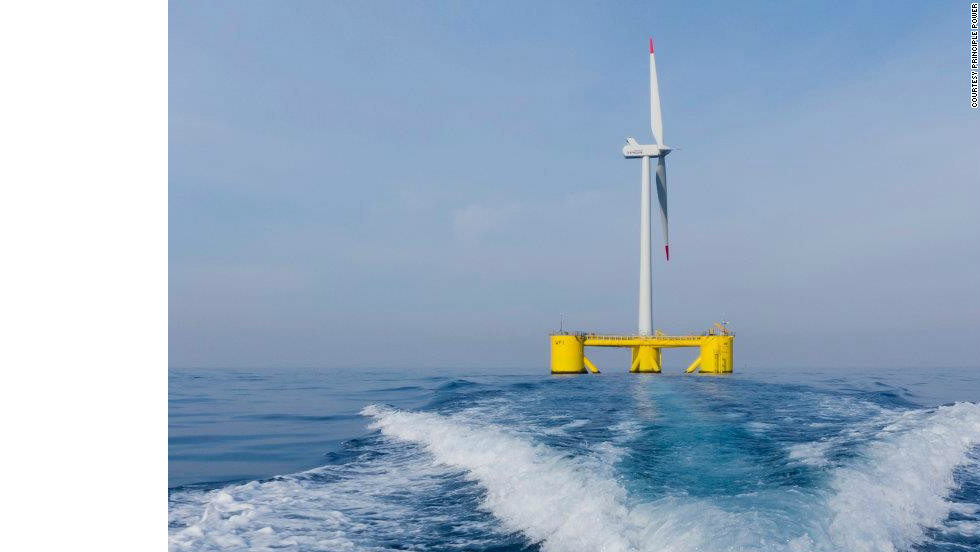 The 54-meter-high structure is a joint venture between a consortium of energy and clean tech companies, including Principle Power, Vestas Wind Systems and Energias de Portugal.