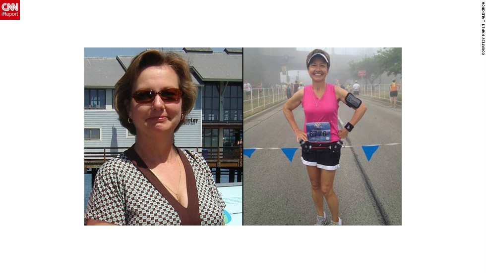 "<a href=""http://ireport.cnn.com/docs/DOC-796779"">Karen Waldkirch</a> before and after her high-tech fitness kick with Fitocracy."