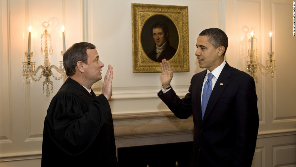 A day after President Obama's inauguration, Roberts re-administers the oath of office to Obama at the White House on January 21, 2009. At the official swearing in ceremony, Roberts misplaced a word in the oath and caused Obama to stumble over the recitation.