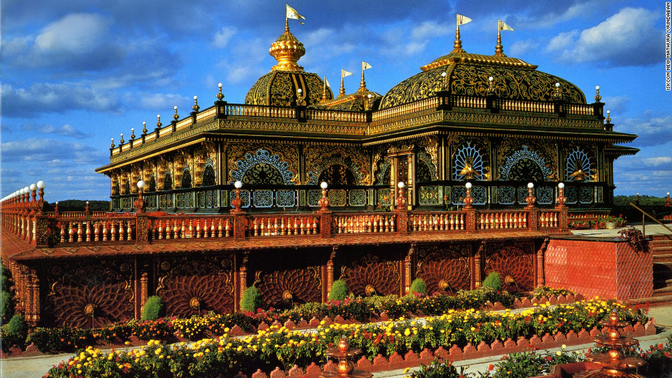 The Indian-inspired Palace of Gold features marble floors, crystal chandeliers, stained glass windows, wood-carved furniture and walls covered in leaves of 22-karat gold.