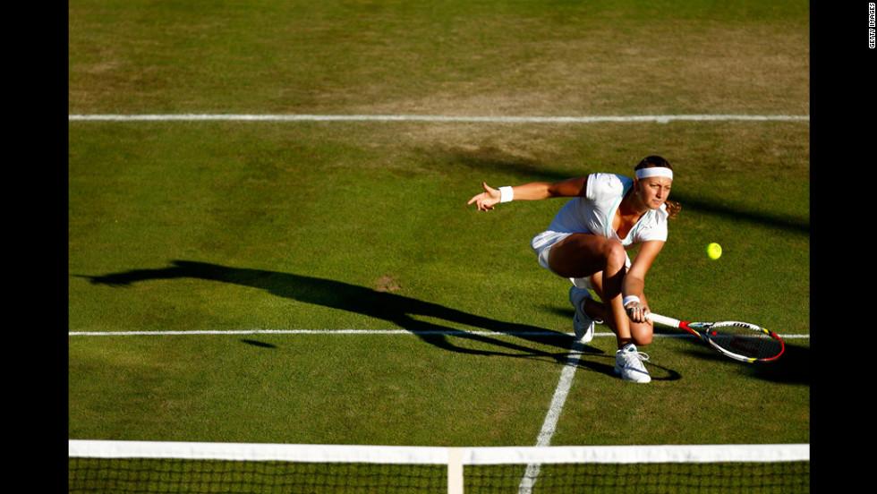 Petra Kvitova of the Czech Republic during her women's singles second-round match against  Elena Baltacha of Great Britain June 28.