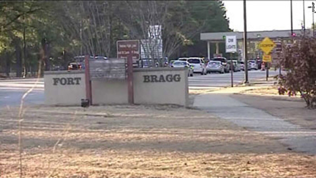 Three soldiers were shot, one fatally, Thursday at Fort Bragg in North Carolina, authorities say.