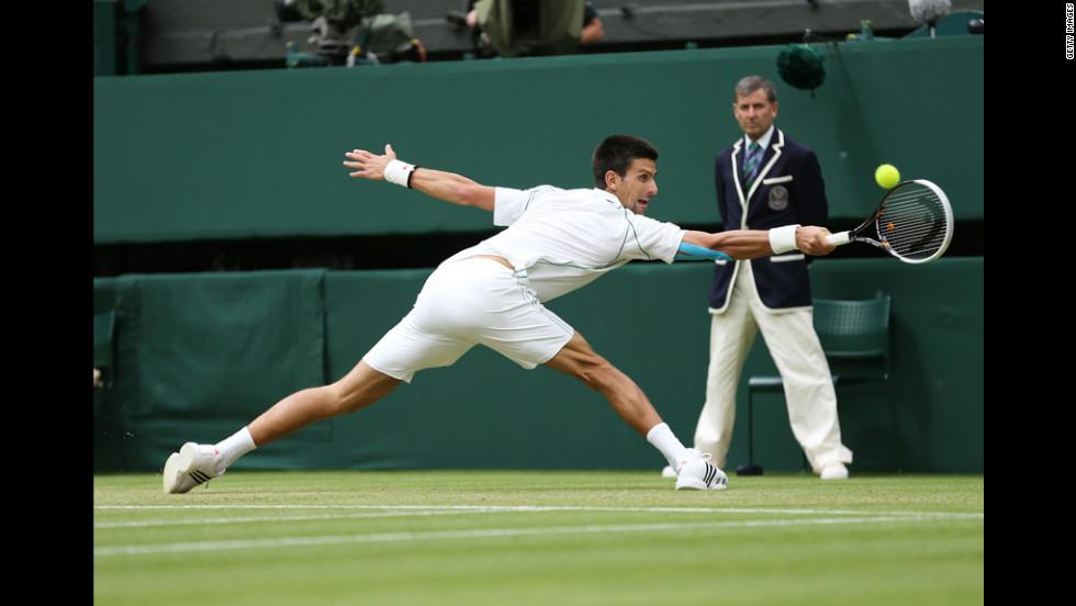 Serbia's Novak Djokovic stretches to make a backhand return during Friday's match against Radek Stepanek of the Czech Republic.