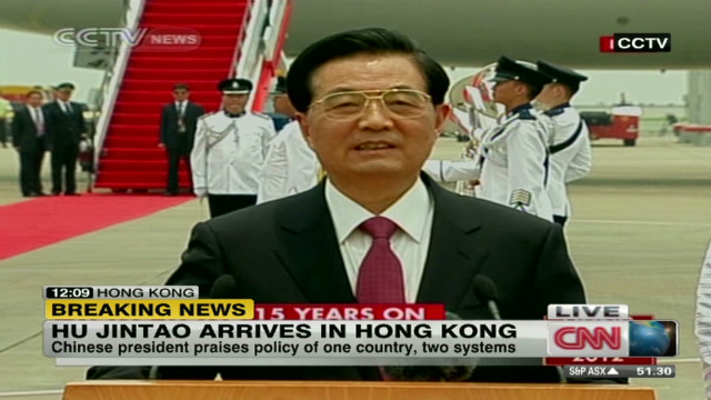 Chinese President Hu in Hong Kong