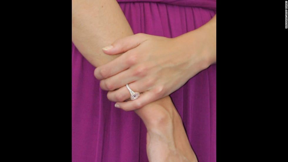 "Holmes shows off her engagement ring at a ""War of the Worlds"" film promotion in Marseille, France, in June 2005."
