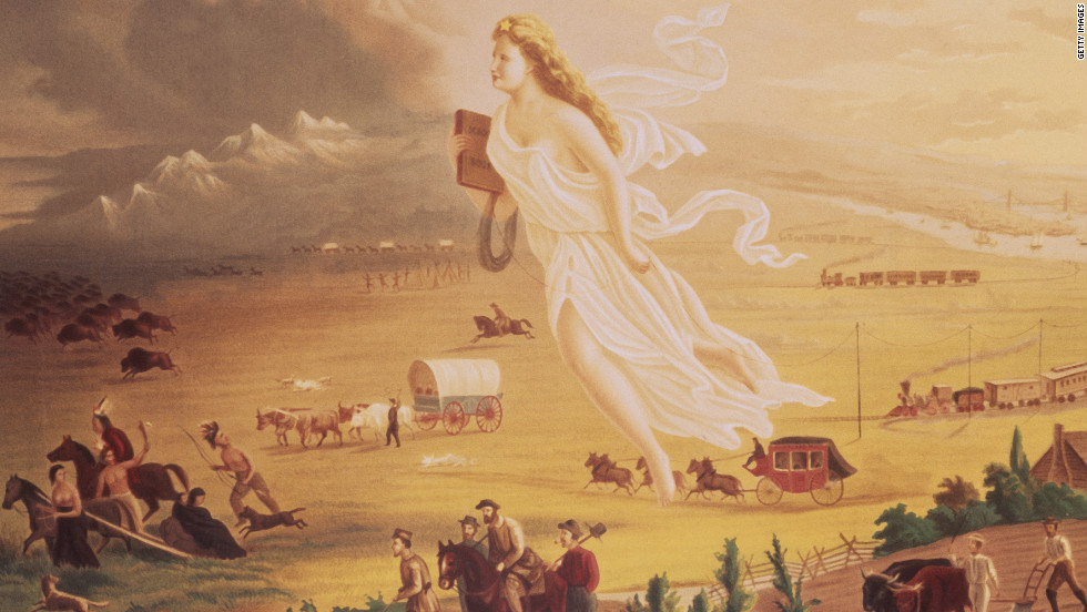 "From Puritans in New England to presidiental candidates today, political leaders have given voice to the idea of American exceptionalism. Click through the gallery to see their words.<em>This 1872 painting by John Gast, ""American Progress,"" depicts the concept of manifest destiny, with a goddess-like figure guiding and protecting settlers as they move westward.</em>"