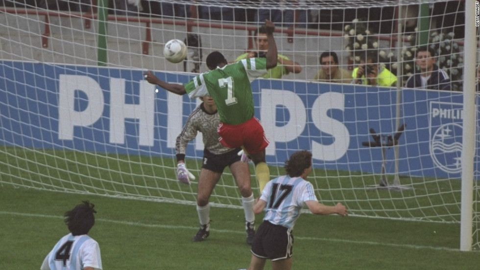 Argentina, captained by the legendary Diego Maradona, entered the 1990 World Cup as champions but the South Americans suffered a shock 1-0 defeat by Cameroon in the tournament's opening match. Francois Oman-Biyik headed the Africans' winner.