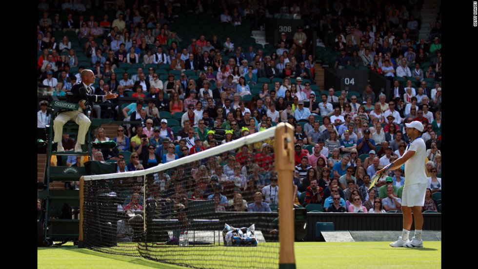 Andy Roddick of the United States argues a call with the line judge during his third round match against David Ferrer of Spain on Saturday.