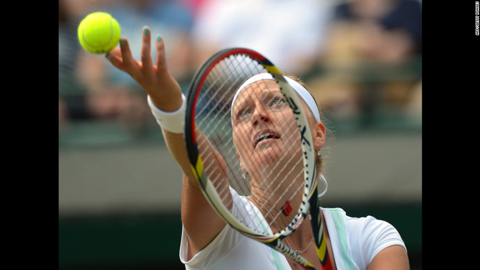 Petra Kvitova of Czech Republic prepares to serve Saturday during her third round women's singles victory over Varvara Lepchenko of the United States.