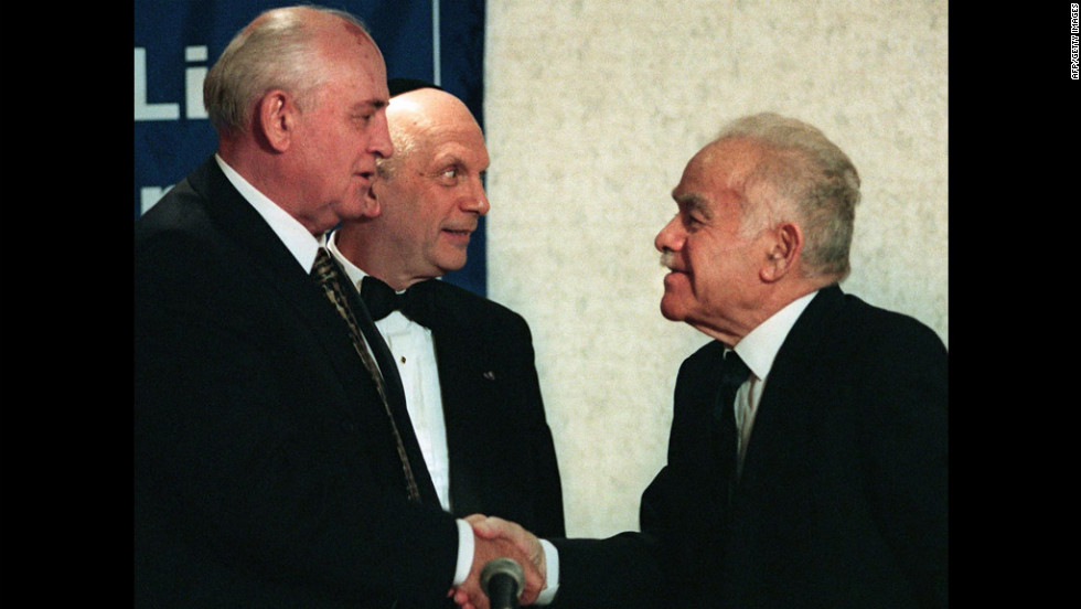 Former Soviet President Mikhail Gorbachev and Shamir shake hands in New York before a dinner sponsored by Israel Bonds in October 1998. Gorbachev was honored for allowing mass emigration of Jews to Israel starting in 1988. Shamir, who led the right-wing Likud bloc, served as prime minister from 1983 to 1984 and from 1986 to 1992.