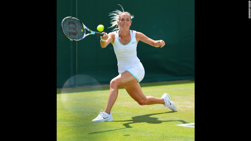 Klara Zakopalova of the Czech Republic returns a shot to Francesca Schiavone of Italy during her third round women's singles victory on Saturday.